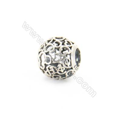 Abalorios de europeos  referico y calado.(plata 925)x1pc Longitud 11mm Díametro de agujero 4.5mm